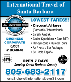 Yellow Pages Ad of International Travel Of Santa Barbara