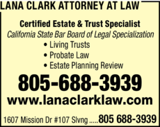 Yellow Pages Ad of Lana Clark Attorney At Law