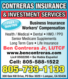 Yellow Pages Ad of Contreras Insurance & Investment Services