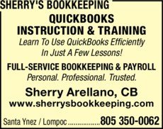 Yellow Pages Ad of Sherry's Bookkeeping