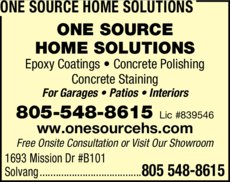 Yellow Pages Ad of One Source Home Solutions