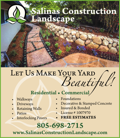 Yellow Pages Ad of Salinas Construction Landscape