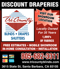 Yellow Pages Ad of Tri County Blinds Drapes & Shutters