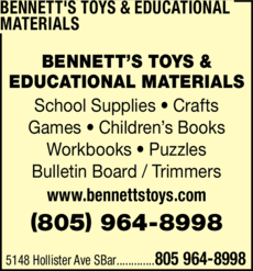 Yellow Pages Ad of Bennett's Toys & Educational Materials