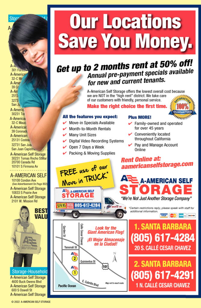 Yellow Pages Ad of A-American Self Storage