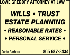Yellow Pages Ad of Lowe Gregory Attorney At Law