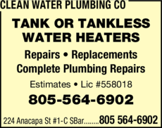 Yellow Pages Ad of Clean Water Plumbing Co