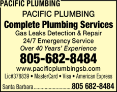 Yellow Pages Ad of Pacific Plumbing