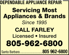 Yellow Pages Ad of Dependable Appliance Repair