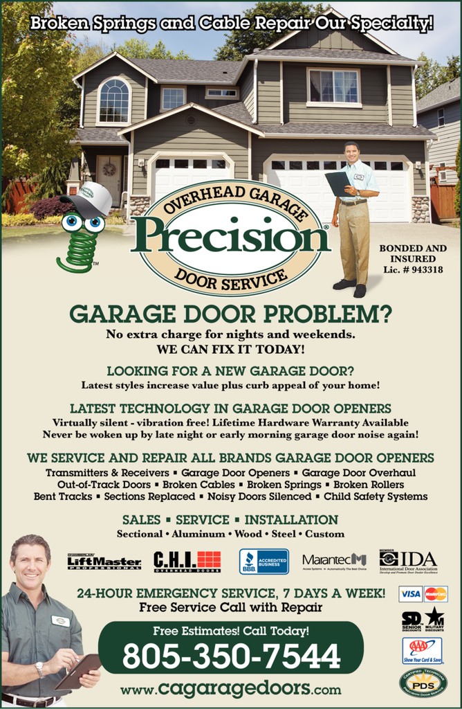 Yellow Pages Ad of Precision Overhead Garage Door Service