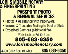 Yellow Pages Ad of Lori's Mobile Notary & Fingerprinting