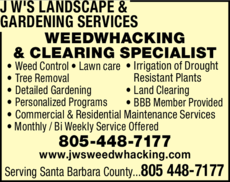 Yellow Pages Ad of J W'S Weedwhacking & Landscape Services