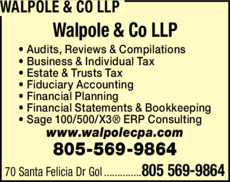 Yellow Pages Ad of Walpole & Co Llp