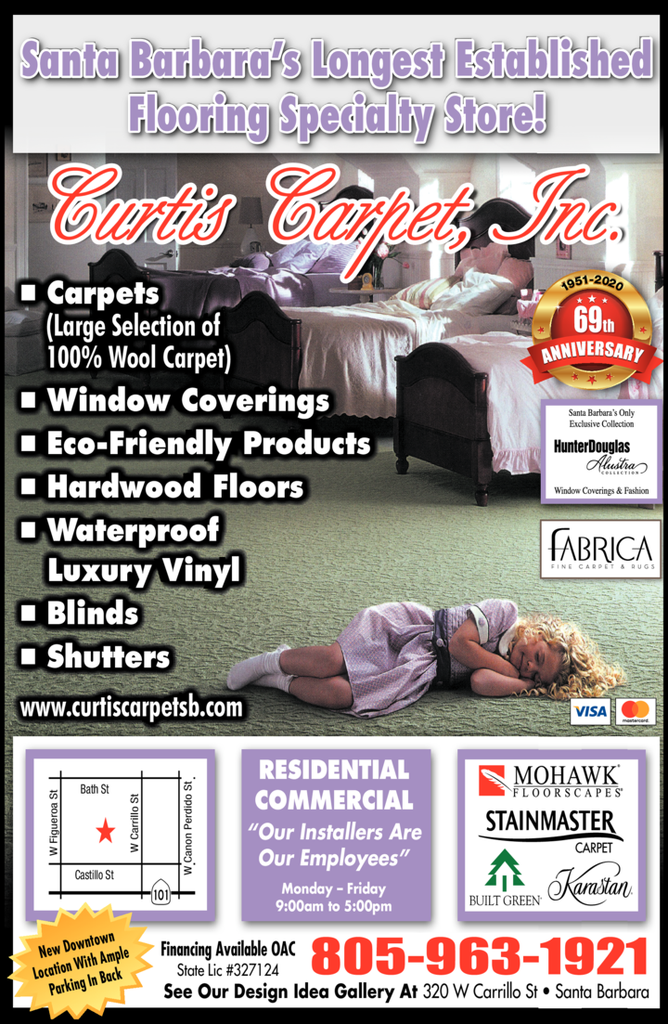 Yellow Pages Ad of Curtis Carpet Inc