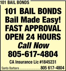 Yellow Pages Ad of 101 Bail Bonds