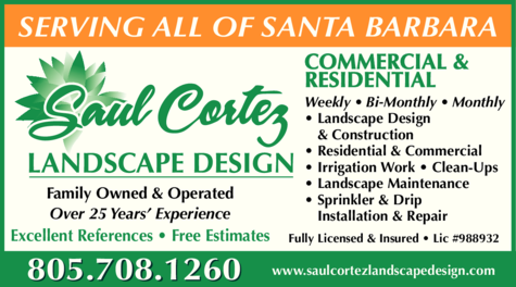 Yellow Pages Ad of Saul Cortez Landscape Design Inc