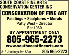 Yellow Pages Ad of South Coast Fine Arts Conservation Center Inc