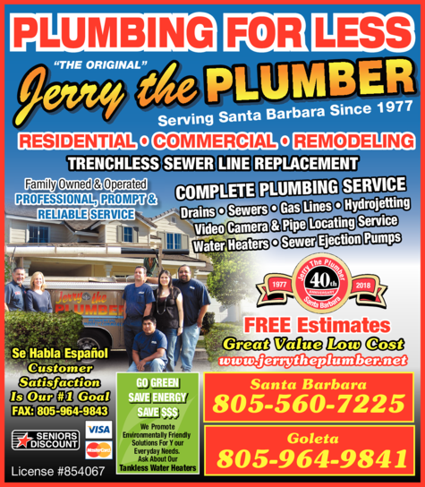 Yellow Pages Ad of Jerry The Plumber Inc