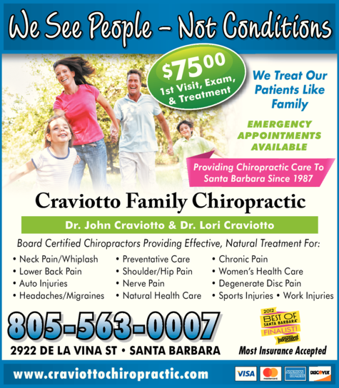 Yellow Pages Ad of Craviotto Family Chiropractic