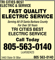 Yellow Pages Ad of Tri Cities Best Electric & Service