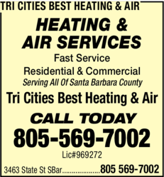 Yellow Pages Ad of Tri Cities Best Heating & Air
