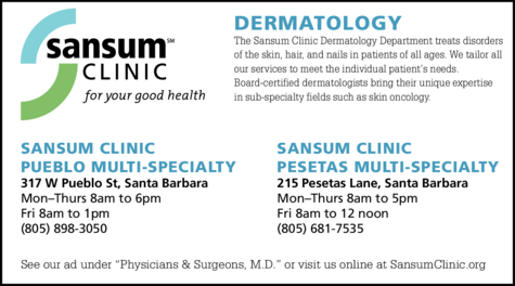 Yellow Pages Ad of Sansum Clinic - Dermatology