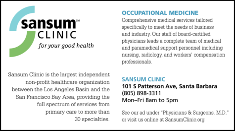 Yellow Pages Ad of Sansum Clinic - Occupational Medicine