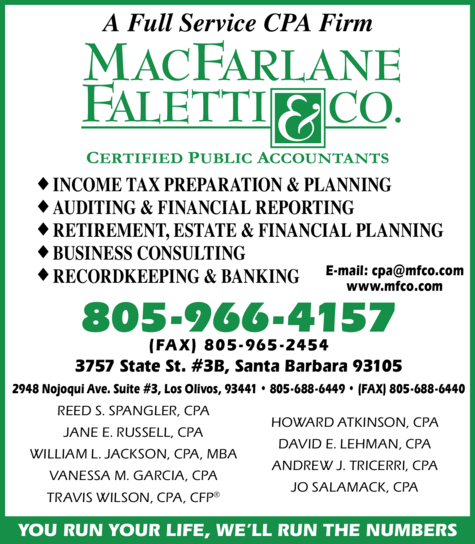 Yellow Pages Ad of Macfarlane Faletti & Co Llp