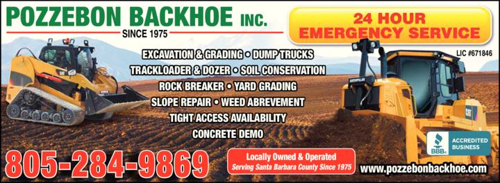 Yellow Pages Ad of Pozzebon Backhoe Service Inc