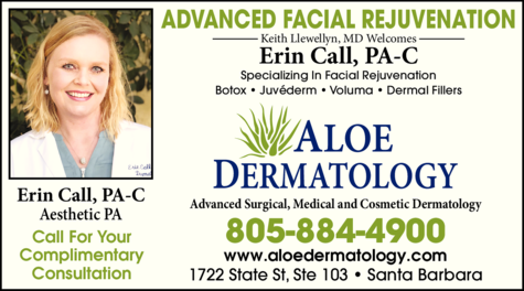 Yellow Pages Ad of Aloe Dermatology - Call Erin Pa-C Aesthetic Pa