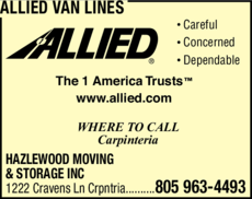 Yellow Pages Ad of Allied Van Lines