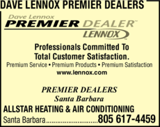 Yellow Pages Ad of Dave Lennox Premier Dealers