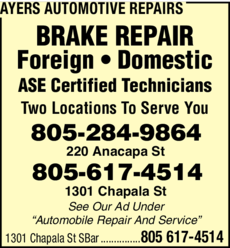 Yellow Pages Ad of Ayers Automotive Repairs