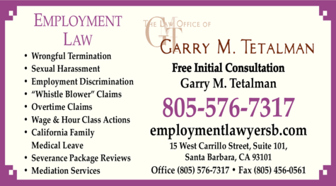 Yellow Pages Ad of Tetalman Garry M The Law Office Of