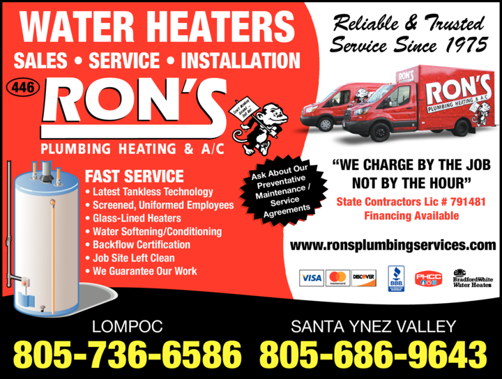 Yellow Pages Ad of Ron's Plumbing Heating & Ac