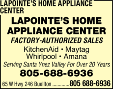 Yellow Pages Ad of Lapointe's Home Appliance Center