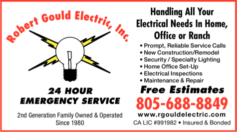 Yellow Pages Ad of Robert Gould Electric Inc