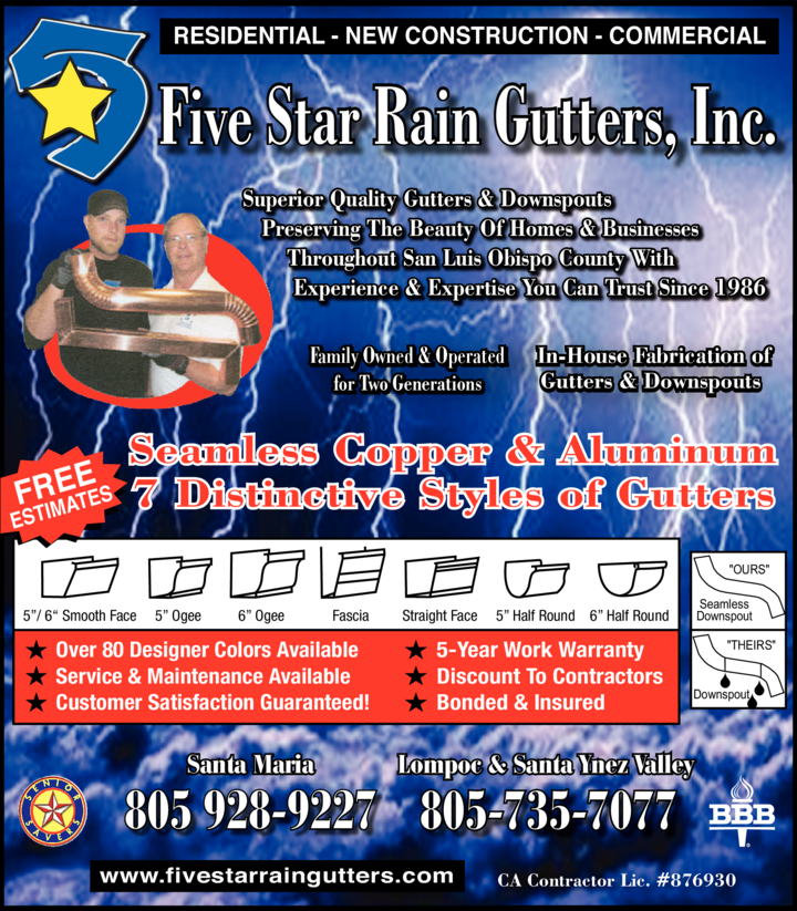 Yellow Pages Ad of Five Star Rain Gutters Inc