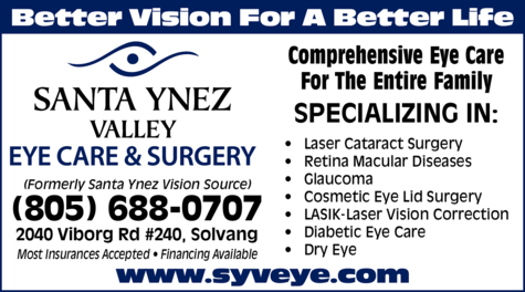 Yellow Pages Ad of Santa Ynez Valley Eye Care & Surgery