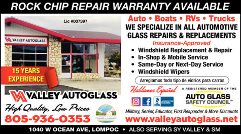 Yellow Pages Ad of Valley Auto Glass