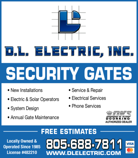 Yellow Pages Ad of Dl Electric Inc