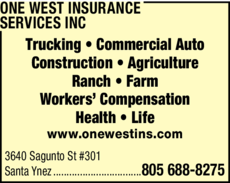 Yellow Pages Ad of One West Insurance Services Inc
