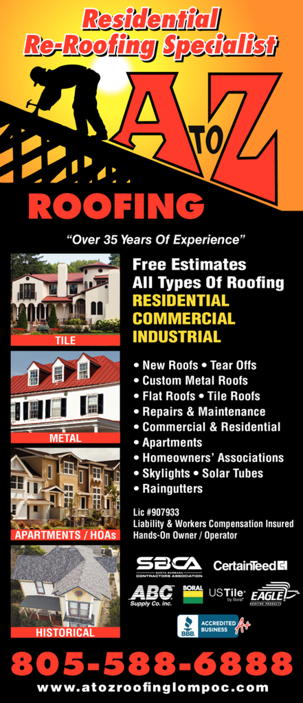 Yellow Pages Ad of A To Z Roofing