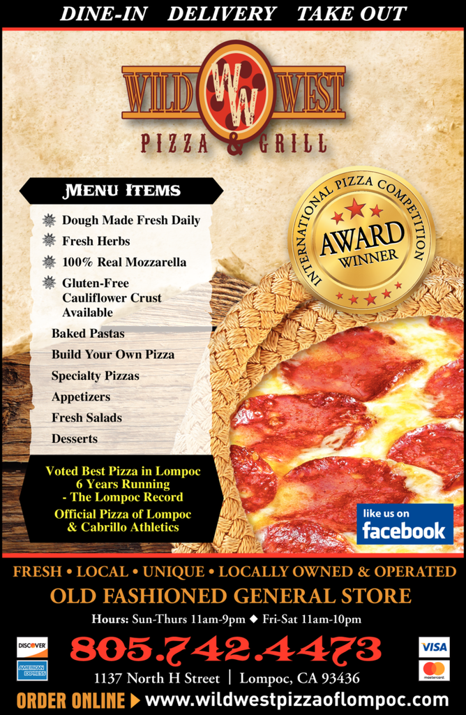 Yellow Pages Ad of Wild West Pizza & Grill