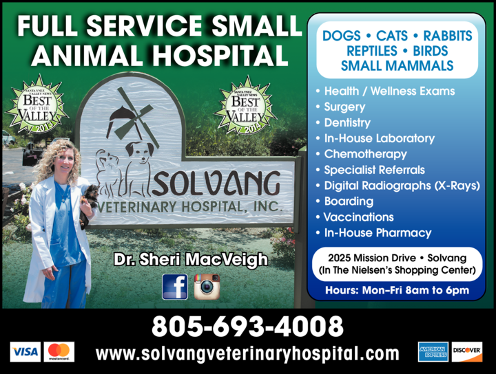 Yellow Pages Ad of Solvang Veterinary Hospital