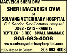 Yellow Pages Ad of Macveigh Sheri Dvm
