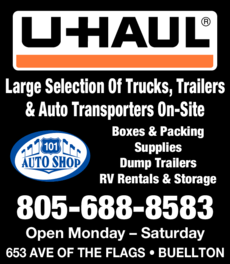 Yellow Pages Ad of 101 Auto Shop & U-Haul
