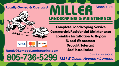 Yellow Pages Ad of Miller Landscaping & Maintenance