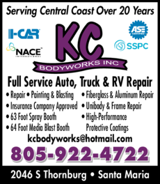 Yellow Pages Ad of Kc Bodyworks Inc