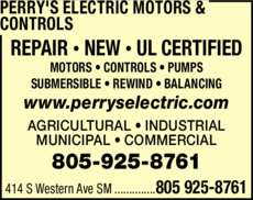 Yellow Pages Ad of Perry's Electric Motors & Controls